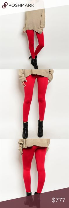 """""""LIPSTICK RED"""" Winter Warm FLEECED LINED leggings Brand new  Price is firm  Stay warm & cozy in these fabulous fleece lined scarlet red thick winter leggings! These leggings feature a stretch comfortable fit and elasticized high-waist. This color is a season must have!  Pair with a sweater, faux fur & boots for a great look! 85%polyester 15%spandex  THESE ARE A BOUTIQUE ITEM MODA ME COUTURE Pants Leggings"""