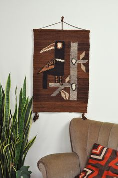 Vintage Weaving / Woven Wall hanging Bird from Dancers Road Vintage shop on Etsy