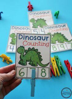 Dinosaur Preschool Theme Dinosaur activities and Games for Preschool – Dinosaur Counting Cards Dinosaur Theme Preschool, Dinosaur Classroom, Dinosaur Alphabet, Dinosaur Games, Preschool Crafts, Preschool Themes By Month, Fun Math Activities, Toddler Activities, Teaching