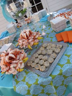 Reception appetizers by Swan's Landing Catering! Serving most of Kentucky and some of  southern Indiana. Shrimp on the left. And our famous Sausage Wontons!