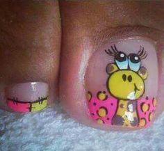 Kid nails Animal Nail Designs, Toe Nail Designs, Mani Pedi, Pedicure, Nails For Kids, Kid Nails, Toe Polish, Rose Nails, Sexy Nails