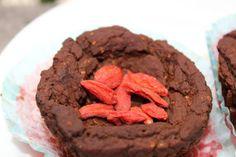 Goji Berry Cocoa Bean Muffins http://marlasmuffins.com/goji-berry-cocoa-bean-muffins/