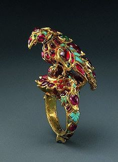 Bird  Finger Ring (1st quarter of the 17th century), Indian, Mughal or Deccan  - Gold, rubies, emeralds, turquoises; carving, kundan technique.
