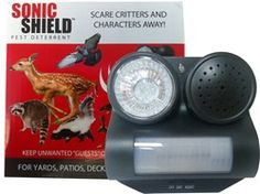 Bird-B-Gone Sonic Shield Pest Deterrent. Scares animals and birds away from yards, patios, decks and balconies using sound and light. It features a motion sensor that triggers a loud dog bark and flashing LED light when a pest crosses its path. Scary Dogs, Dog Sounds, House Sparrow, Bees And Wasps, Pest Management, Pest Control Services, Humming Bird Feeders, Dog Barking, Coops