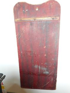 32in long x 14.5in wide. Bread board end. Dough side in fabulous patina and condition. Large 19th C. Painted Pine Dough Board.  Rare