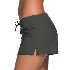 (14.38$)  Know more - http://aih46.worlditems.win/all/product.php?id=GS203GY-M - Women Swim Boardshort Boardies Low Waist Drawstring Split Hem Sporty Beach Pants Beachwear Swimwear
