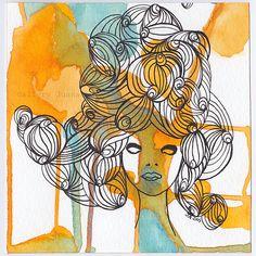 beautiful female portrait pen on paper by GalleryJuana on Etsy