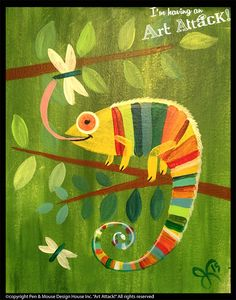 Seasons Gallery Kids Paintings Still Life Paintings Animals and Sports Holiday Paintings Spring Painting, Painting For Kids, Art Drawings For Kids, Art For Kids, Cameleon Art, Jr Art, Art Lessons Elementary, Paint Party, Illustrations And Posters