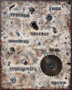 Tableau peinture abstrait contemporain effet industriel - Peinture effet relief ...