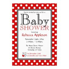 Polka Dot Red Baby Shower Invitations