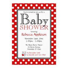 Polka Dot Red Baby Shower Invitations