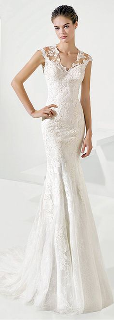 Delightful Tulle & Lace V-Neck Mermaid Wedding Dresses With Lace Appliques