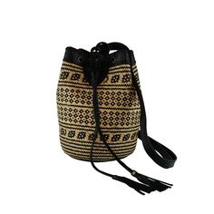 Rattan and Leather Borneo Ajat Lined Bucket Bag, Backpack, Cross Body, Shoulder Purse. Traditional Borneo Rattan Bag