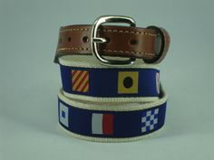 Mens Embroidered Leather Canvas Nautical Code Flags Ribbon Belt NWT select size  #Moonshine