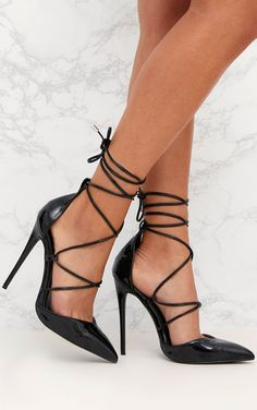 d2bcb99cf33 Black Pointed Patent Stiletto Heels Platform High Heels