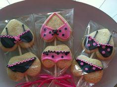 Lingerie Cookie Pops #DelishCookieCo #Lingerie #CookiePops #SugarCookies #HotPinkBlack