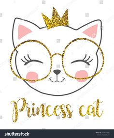 cute princess cat with a glitter crown. cute princess cat with a glitter crown. Chat Kawaii, Glitter Girl, Glitter Uggs, Glitter Heels, Kitty Party, Cute Princess, Cat Birthday, Silhouette Cameo Projects, Cat Drawing