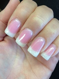 Pink and whites with white glitter tips