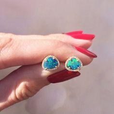 14kt gold and diamond free form opal studs – Luna Skye by Samantha Conn #opalsaustralia