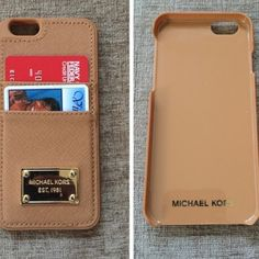 Michael kors leather phone case pale gold. Cracked case on side from being dropped but still functional and okay to use! . iPhone 6. Best color representation 4th pic Michael Kors Accessories Phone Cases