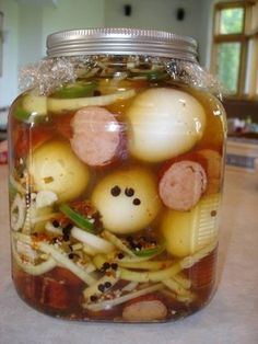CHERYLs Twist on Cooking!: Pickled Egg Recipes yummy Healthy Snack – Famous Last Words Canning Recipes, Egg Recipes, Sausage Recipes, Yummy Healthy Snacks, Yummy Food, Healthy Food, Spicy Pickled Eggs, Pickled Eggs And Sausage Recipe, Pickeled Sausage Recipe