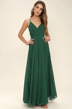 All great love stories start with the All About Love Dark Green Maxi Dress! Woven poly shapes a pleated, surplice bodice (with modesty snap), fitted waist, and cascading maxi skirt. Adjustable straps. Hidden back zipper/clasp.