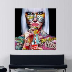 Tableau Pop Art Girly Drink Tableau Pop Art, Art Populaire, Girly, Wall Art Decor, Vivid Colors, Cotton Canvas, Living Room Decor, Graffiti, Portrait