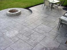 Ideas For Stamped Concrete Patio With Pergola House Poured Concrete Patio, Concrete Patio Designs, Outdoor Patio Designs, Cement Patio, Small Backyard Patio, Diy Patio, Concrete Patios, Concrete Backyard, Backyard Ideas