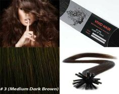 """Vivid Hair 100 Strands Micro Ring Links Locks Beads Straight Keratin Stick I Tip Human Hair Extensions Color #3 Medium Dark Brown by Vivid Hair. $119.99. Glue Tip: Keratin I Tipped (Stick Shape). Color: # 3 (Medium Dark Brown). Quantity: 100 Strands. Texture & Length : Straight 22"""" inches long. Hair Type: Remy Silky Human Hair. Each strand weight 0.75g and has approx 180 individual hairs that are bonded together on the ends by a keratin protein glue of I shape hair that is... TH..."""