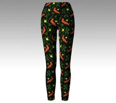 Birds and flowers print leggings capri pugin arts and crafts unique printed yoga pants floral deco english morris green orange activewear by RedThanet on Etsy