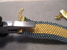 One Way to Finish a Flat Peyote-Stitch Band - Beading Daily. I'd avoid the coating process.... #Seed #Bead #Tutorials:
