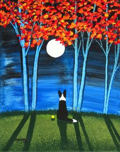 Border Collie Dog Original Folk Art painting by Todd Young 8x10 or BEST OFFER on Etsy, $99.00