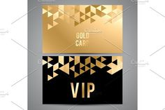 VIP cards. Black and golden design. Triangle decorative patterns.. Best Textures
