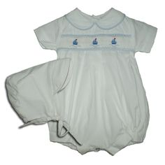 Alfie White with Yachts - Hand-smocked top (soft cotton lining to inside of smocking) popper fastening to bottom with button fastening at back. Available in sizes and months. Yachts, Smocking, Rompers, Children, Prince, Cotton, Baby, Top, Fashion
