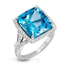 TR607-Simon G. white gold white diamonds and aquamarine right hand fashion cocktail ring