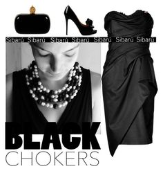 """""""Black Choquers"""" by sibaru ❤ liked on Polyvore featuring Marchesa, Valentino, Alexander McQueen, blackandwhite, sibaru and blackchokers"""