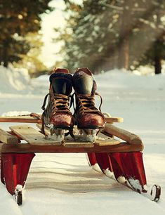 Old Wooden Sleds and skates