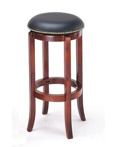 Cheap New Cherry Finish Wood Bar Stool With Black Vinyl Swivel Seat And Brass Pin Trim https://kitchenbarstools.life/cheap-new-cherry-finish-wood-bar-stool-with-black-vinyl-swivel-seat-and-brass-pin-trim/