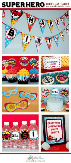 COURTNEY   COURTNEY!   Superhero BIRTHDAY Party Printable Package & Invitation , INSTANT DOWNLOAD, You Edit Yourself with Adobe Reader on Etsy, $29.00