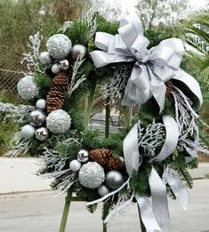 christmas wreaths Send Silver magical Christmas Wreath in Los Angeles, CA from Floral Design by Daves Flowers, the best florist in Los Angeles. All flowers are hand delivered and same day delivery may be available. Magical Christmas, Gold Christmas, Christmas Crafts, Christmas Time, Burlap Christmas, Victorian Christmas, Primitive Christmas, Country Christmas, Christmas Christmas