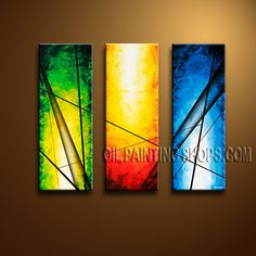 Beautiful Modern Abstract Painting Oil Painting On Canvas Panels Gallery Stretched Abstract. This 3 panels canvas wall art is hand painted by Bo Yi Art Studio, instock - $135. To see more, visit OilPaintingShops.com