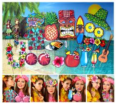 Hawaii Summer Luau Aloha photo booth props by thepartyevent