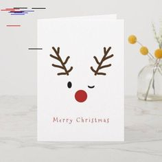 Shop Cute Winking Rudolf Reindeer Christmas Holiday Card created by Lovewhatwedo. Personalize it with photos & text or purchase as is! Pop Up Christmas Cards, Christmas Doodles, Merry Christmas Greetings, Christmas Card Crafts, Homemade Christmas Cards, Christmas Holidays, Reindeer Christmas, Happy Holidays, Christmas Sentiments