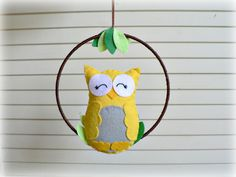 Owl mobile  Woodland baby mobile  Yellow and by LullabyMobiles, $51.00