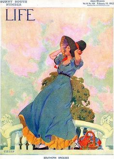 """Life"" Magazine - February 15, 1912 - Cover illustration by Crisp (Arthur Watkins Crisp): ""Southern Breezes"""