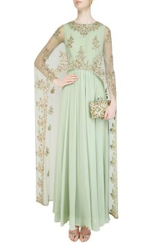 Celedon green floral embroidered cape anarkali set available only at Pernia's…