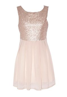 Rose Gold Sequin Party Dress - Short Dresses For Going Out | Glitzy Angel