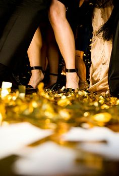 Four Seasons Hotel Seattle guests danced atop a sea of gold confetti.