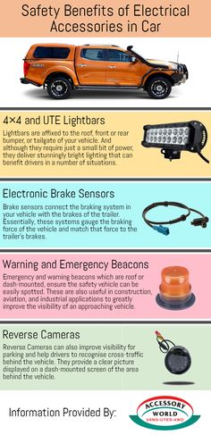 Electrical Accessories such as Light bars, electronic brake sensors, warning and emergency beacons, and reverse cameras provide safety to SUV vehicles and UTE's. To know more about their benefits go through this info-graphic.
