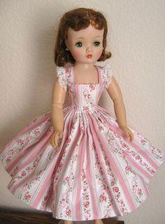 Pink floral print sundress for vintage Madame Alexander Cissy -  www.DollDreamsByNatalie.com